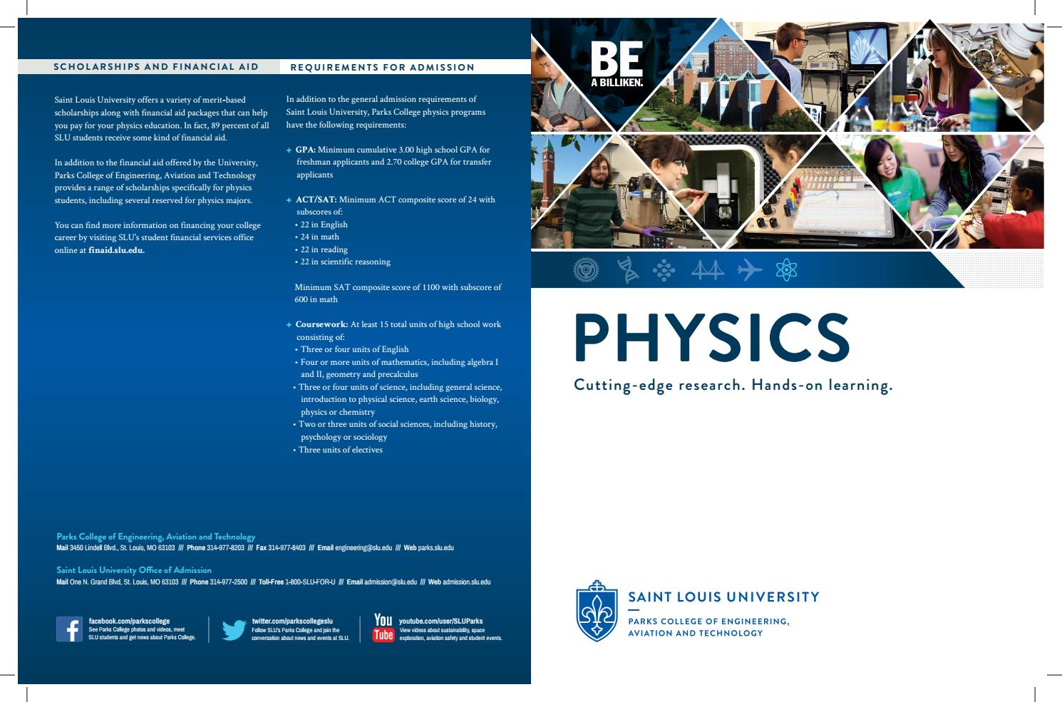 Department of Physics Brochure by Parks College of Engineering
