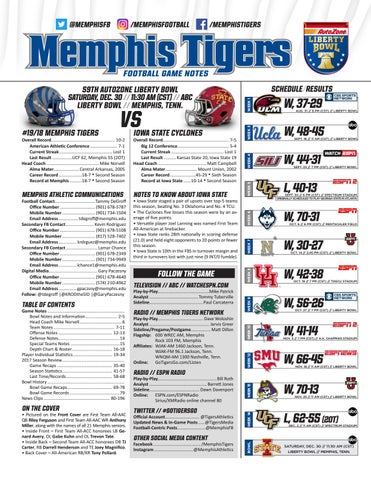 2017 Memphis Football Notes - AutoZone Liberty Bowl by