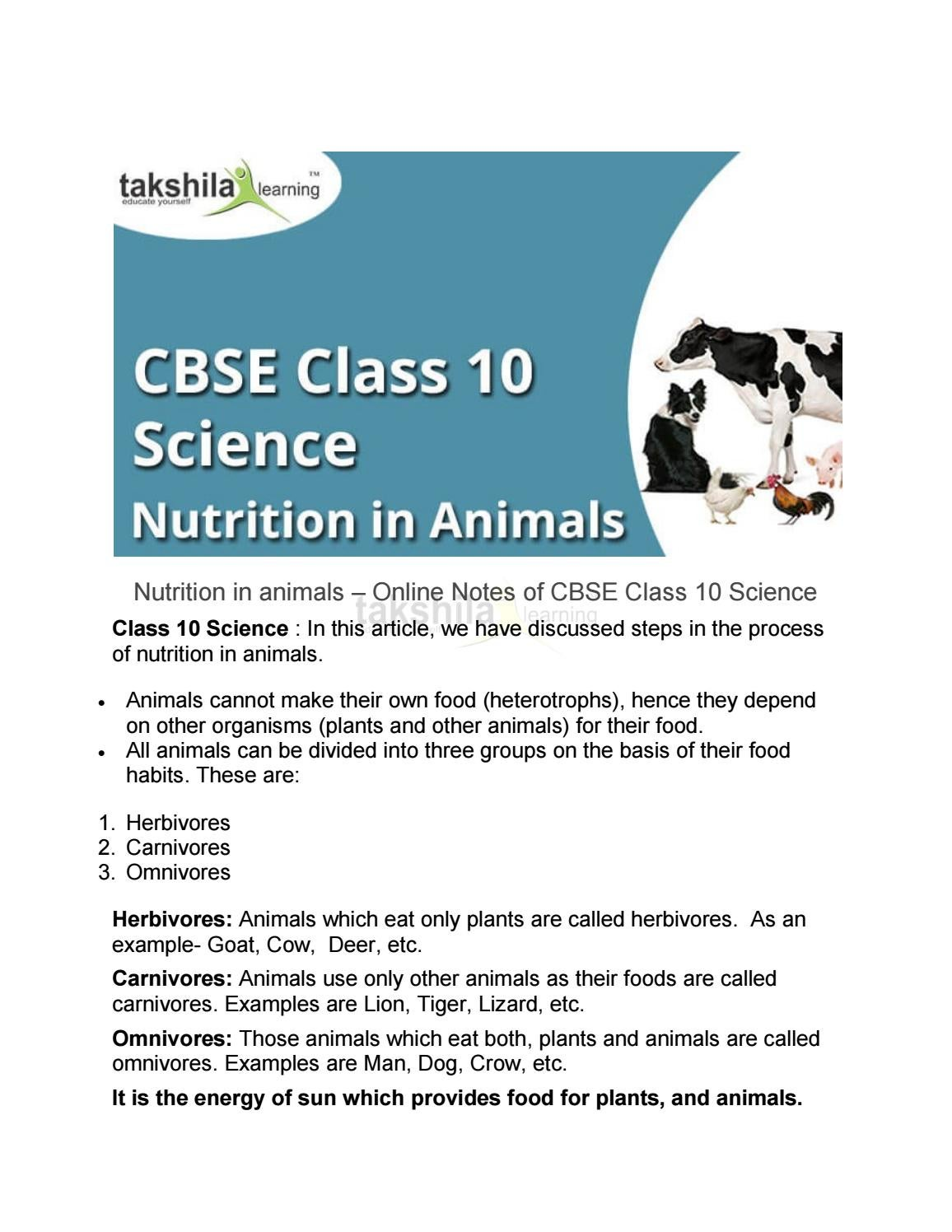 Nutrition In Animals Topic Of Cbse Class 10 Science By Takshila