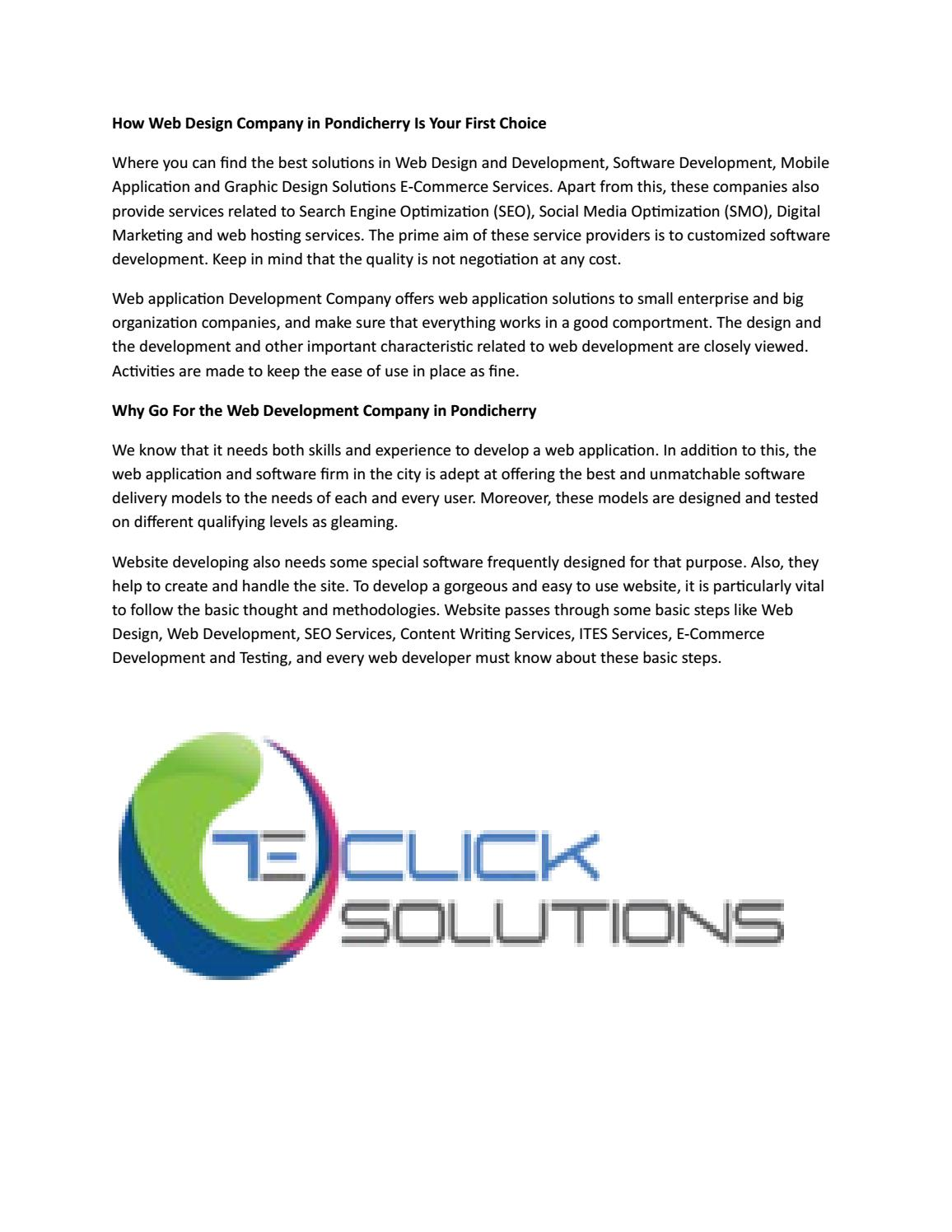 How Web Design Company In Pondicherry Is Your First Choice By Teclick Solutions Issuu