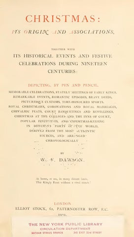 Christmas Its Origin And Associations By W F Dawson By Sinister