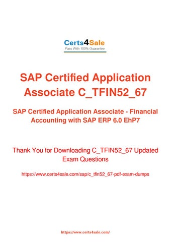 C_TFIN52_67 Exam Questions - Financial Accounting with SAP ERP 6 0