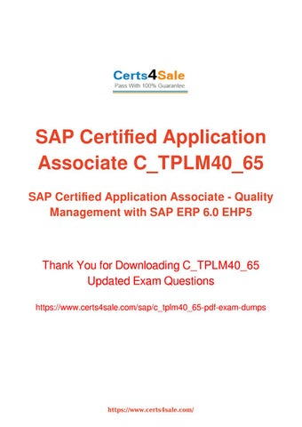 SAP Certified Application Associate - Quality Management with ERP 6.0