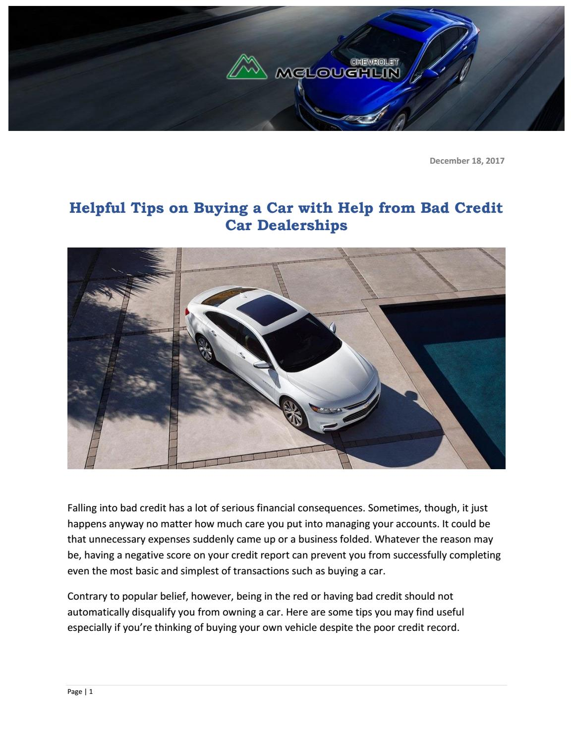 Bad Credit Car Dealerships >> Helpful Tips On Buying A Car With Help From Bad Credit Car