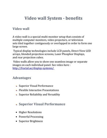 Video wall system benefits by isra217 - issuu