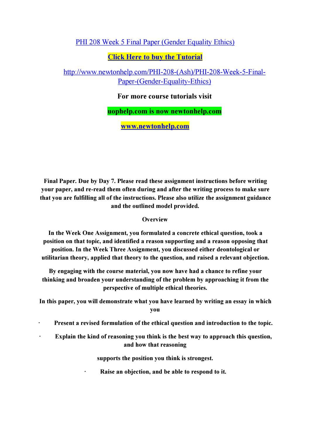 High School Admission Essay Examples  Essay On Religion And Science also Example Of English Essay Phi  Week  Final Paper Gender Equality Ethics By  Www Oppapers Com Essays
