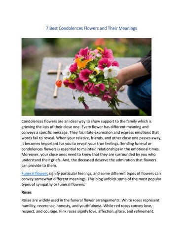 Condolences Flowers And Their Meanings