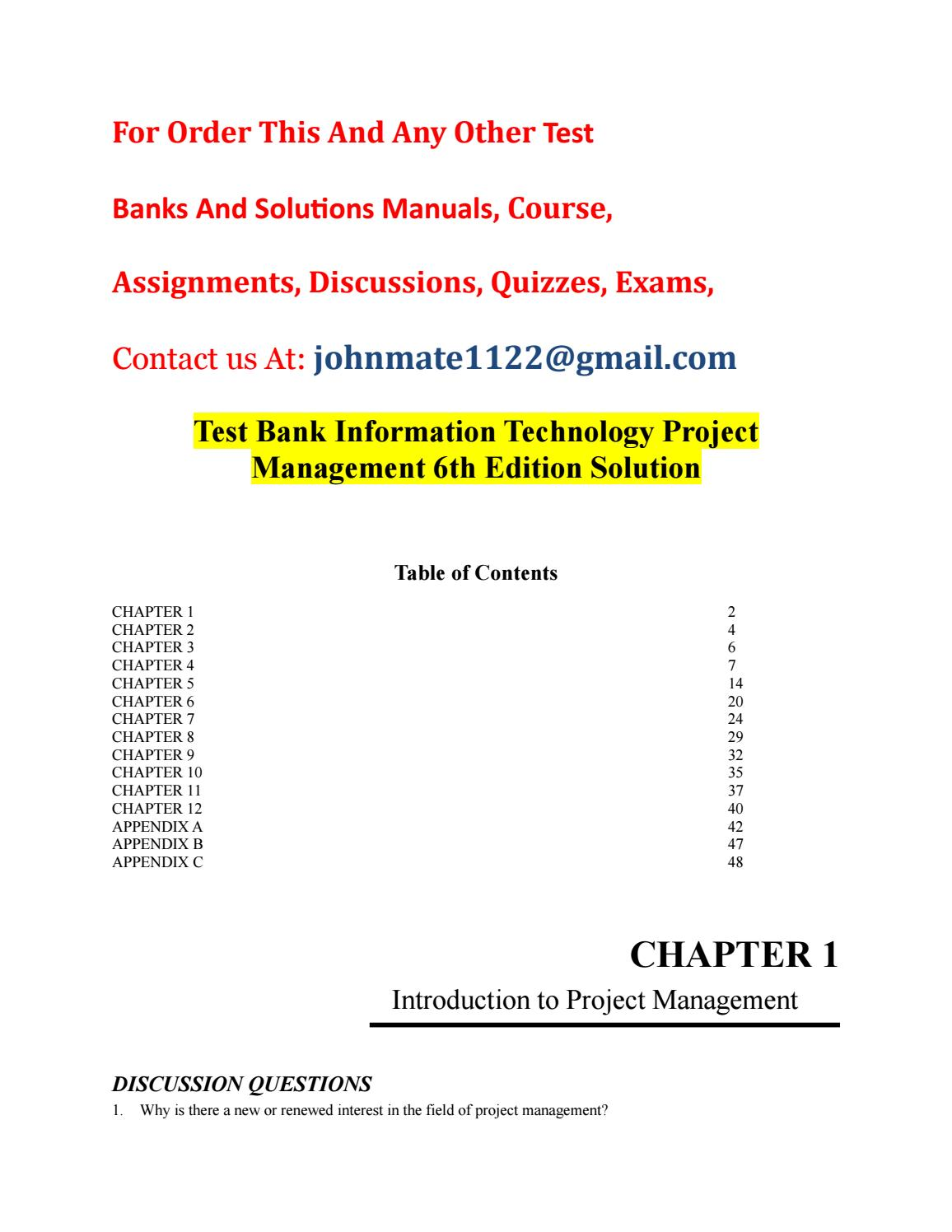 Test bank information technology project management 6th