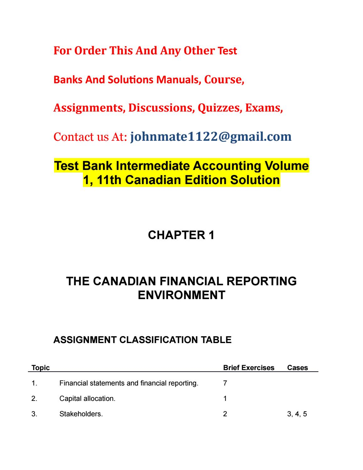 Test bank intermediate accounting volume 1, 11th canadian edition solution  by LewisPipkin - issuu