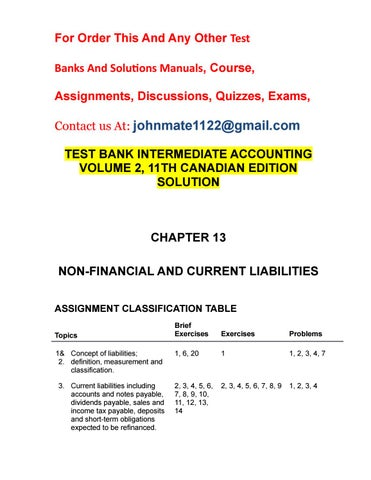 Test Bank Intermediate Accounting Volume 2 11th Canadian