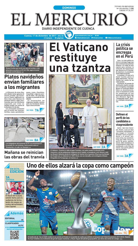 hemeroteca 17-12-2017 by Diario El Mercurio Cuenca - issuu 9087dbcb217