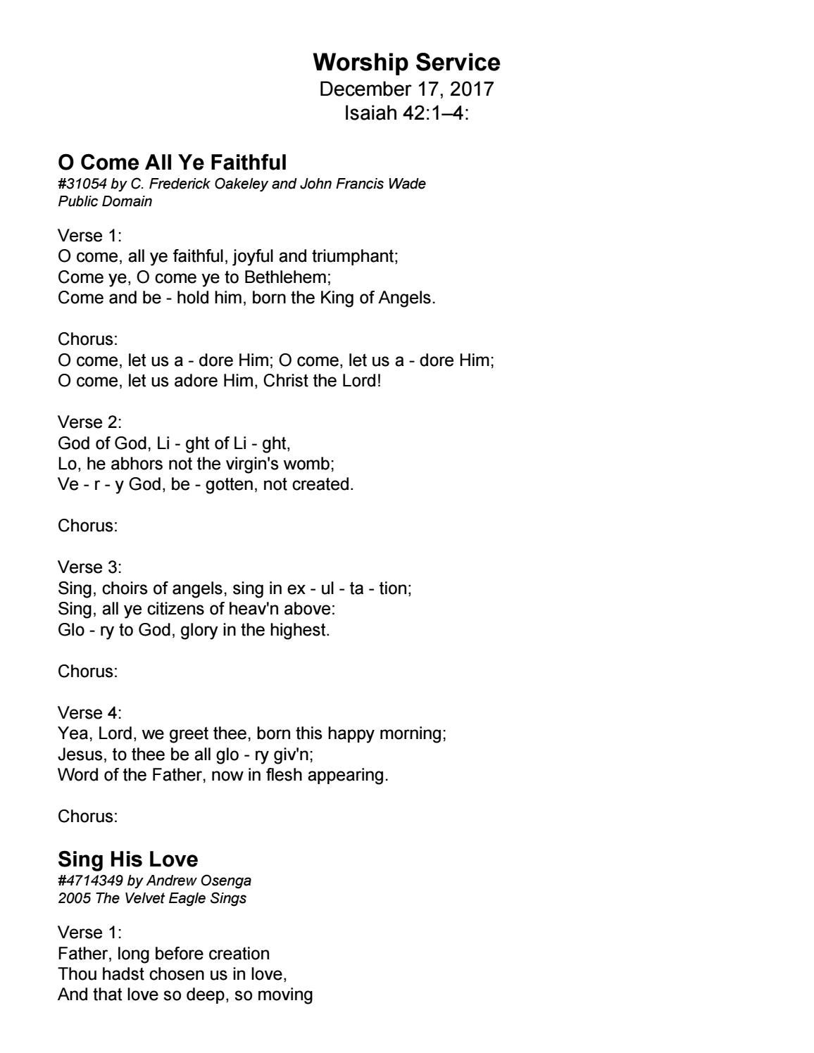 Song Lyrics For 121717 By Trinity Presbyterian Church Issuu