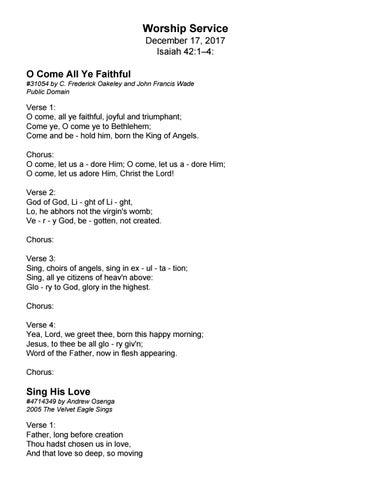 Song lyrics for 121717 by trinity presbyterian church issuu page 1 m4hsunfo