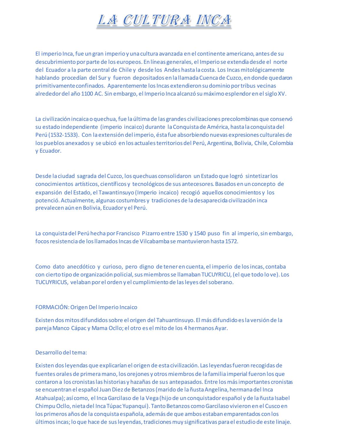 La cultura Inca pdf 2017 by Antony Alexander - issuu