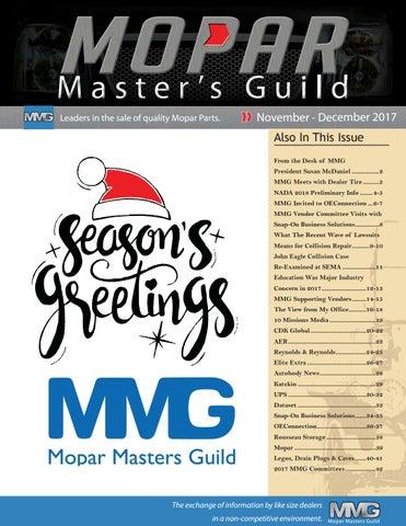 Mopar Masters Guild Magazine Nov - Dec 2017 Edition by Don Cushing