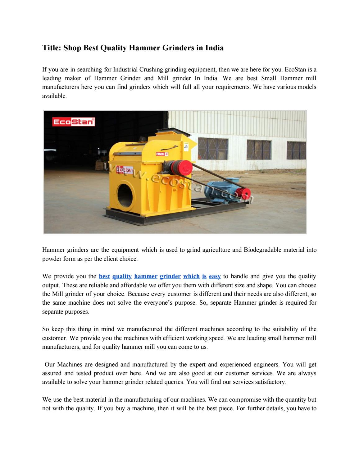 Hammer Grinder Machine Sale From Ludhiana by Eco Stan - issuu