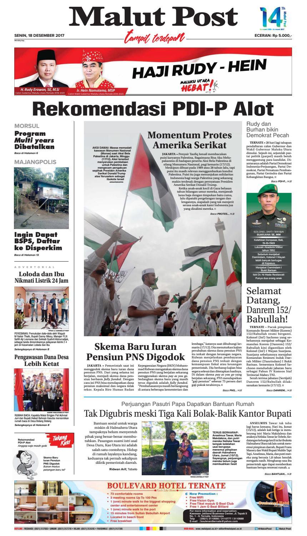 Malut Post 18 Desember 2017 By Issuu Produk Ukm Bumn Atasan Tenun Pria Lengan Pendek Hijau B
