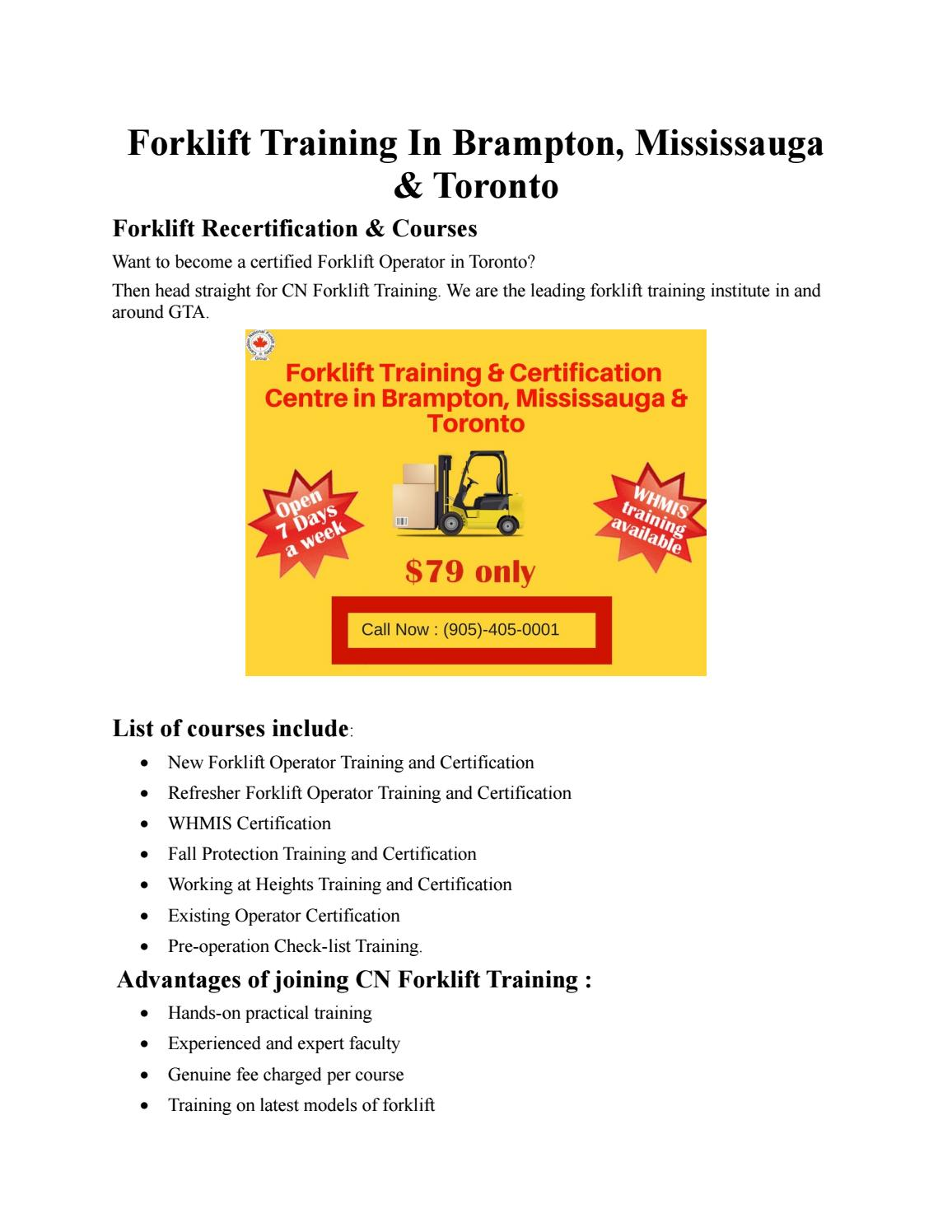 Forklift Training In Brampton Mississauga And Toronto By Cn