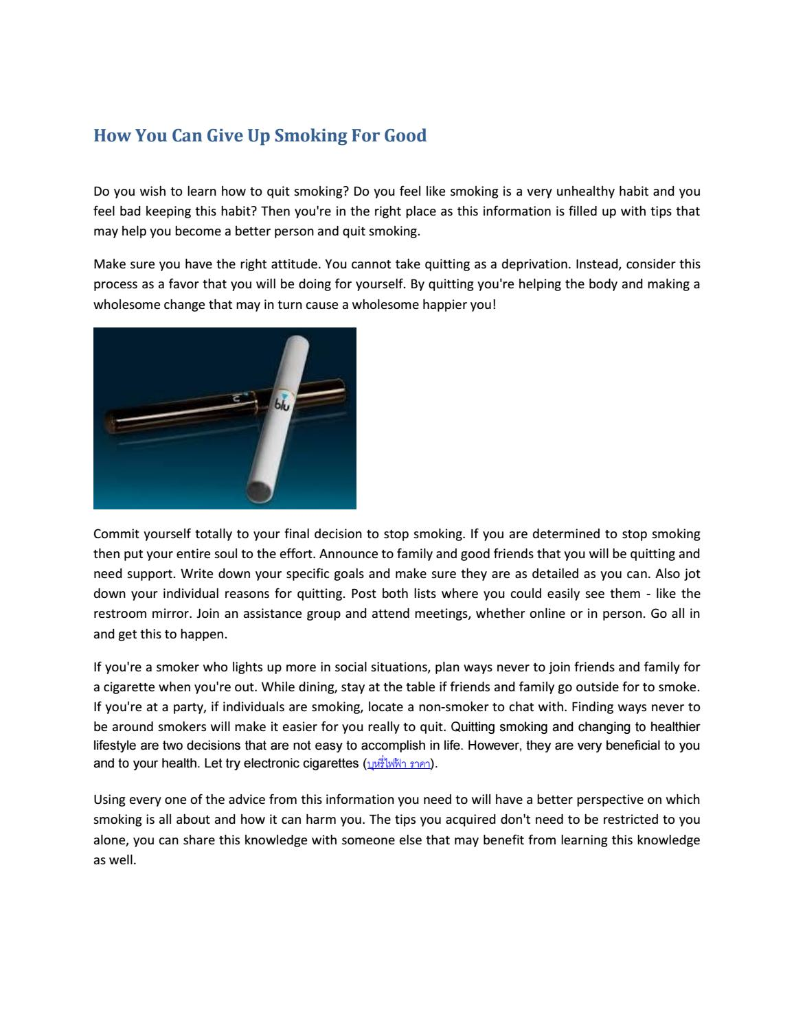 How You Can Give Up Smoking For Good By Kurtmalone Issuu