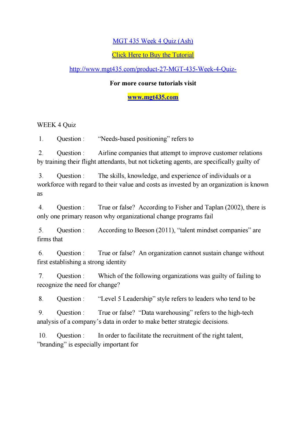 Mgt 435 week 4 quiz (ash) by a bhilashpudu kadapple1234 - issuu