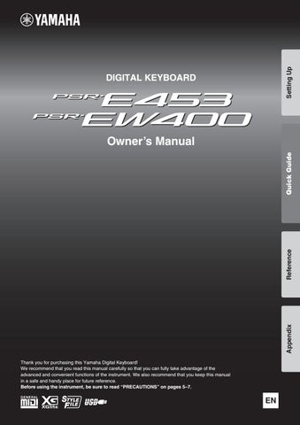 Manual of Digital Keyboard Yamaha psr-e453 and psr-ew400 by Arzt - issuu