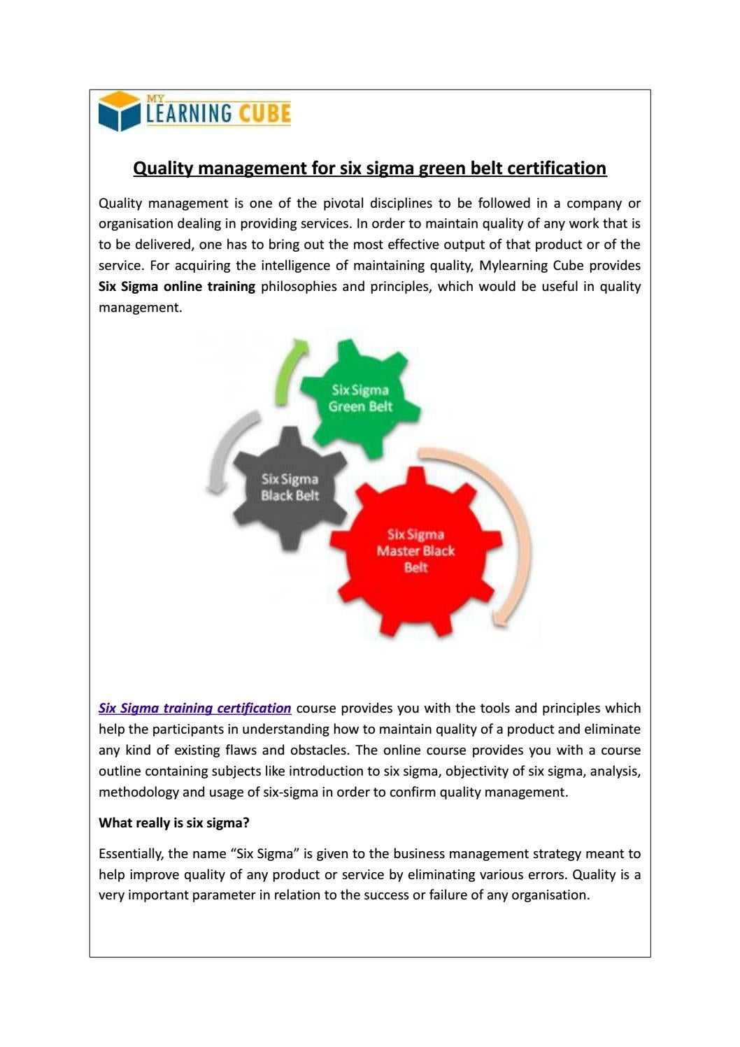 Six Sigma Training And Certification Online By Mylearningcube Issuu