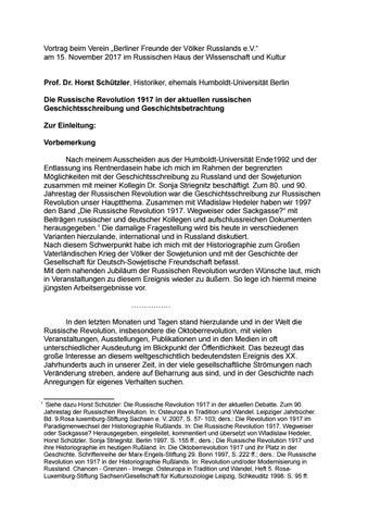 Vortrag Horst Schützler zu 100 Jahre Russische Revolution by Sven ...