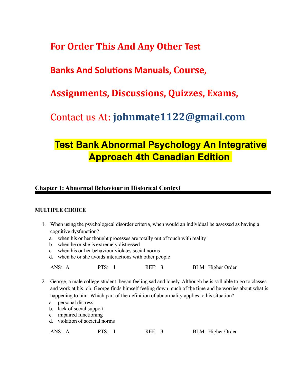 Test bank abnormal psychology an integrative approach 4th canadian ...