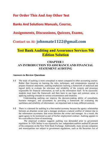 auditing test bank chapter 1