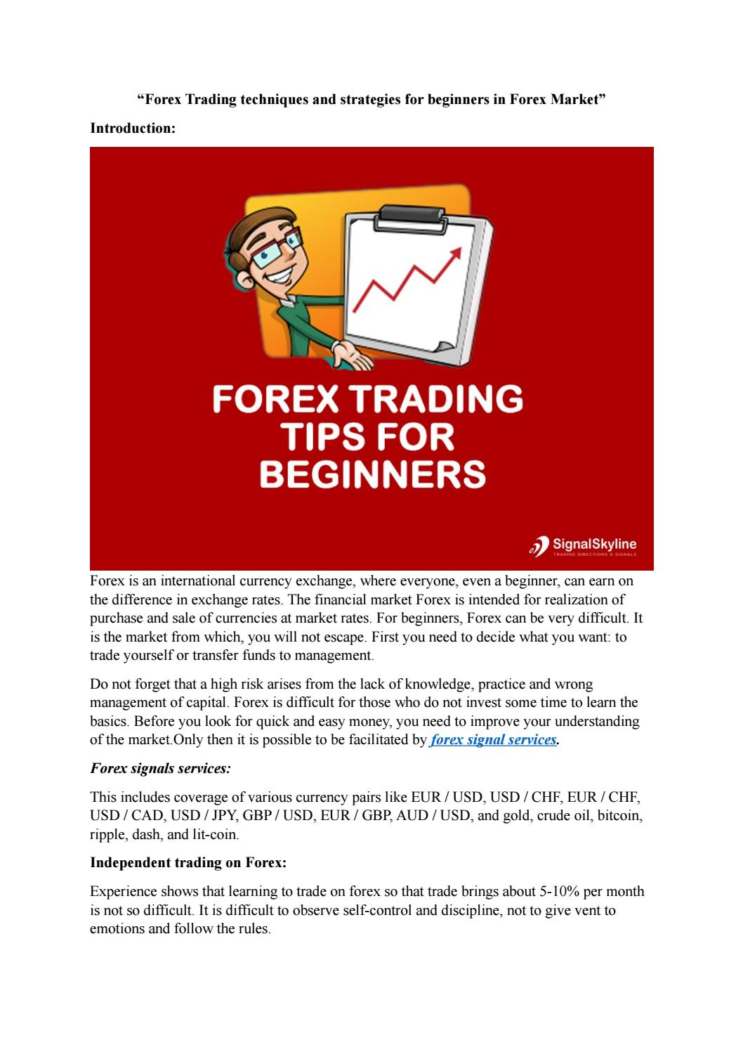 Forex Trading Techniques And Strategies For Beginners In Market By Sophiamason008 Issuu
