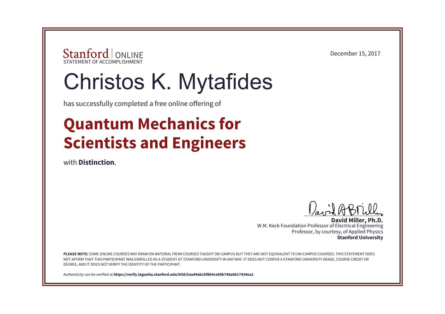 Quantum Mechanics for Scientists & Engineers by Christos K