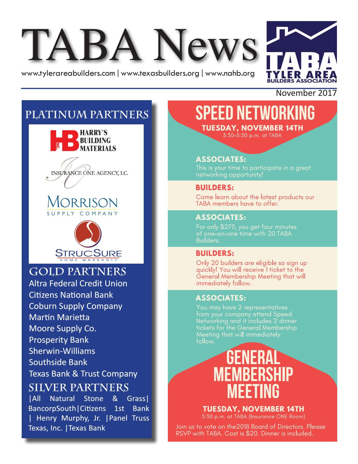 November 17 Newsletter By Tyler Area Builders Association Issuu