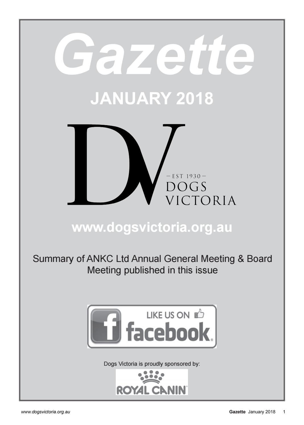 Dogs Victoria Gazette - January 2018 by Dogs Victoria - issuu