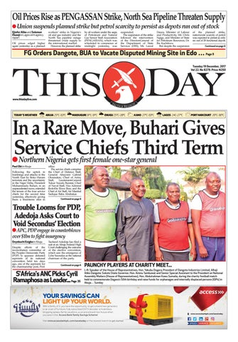 Tuesday 19 December 2017 By Thisday Newspapers Ltd Issuu