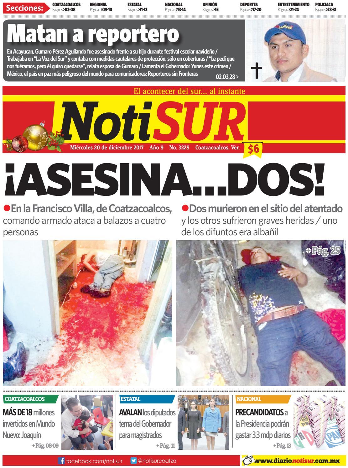 e39800c09b8b NotiSUR 20 de diciembre 2017 by Diario NotiSUR Coatzacoalcos 2015 ...