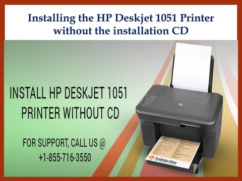 How to install HP Deskjet 1051 printer without CD? by 123-HP
