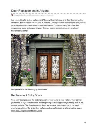 Door Replacement In Arizona Energyshieldwindowsanddoors.com/door  Replacement Arizona/
