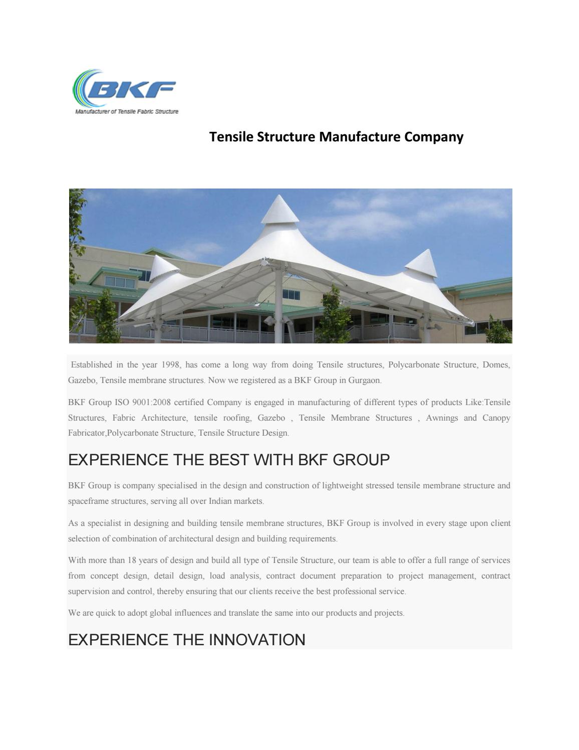 Tensile structure manufacture company in India by Tensile Structure