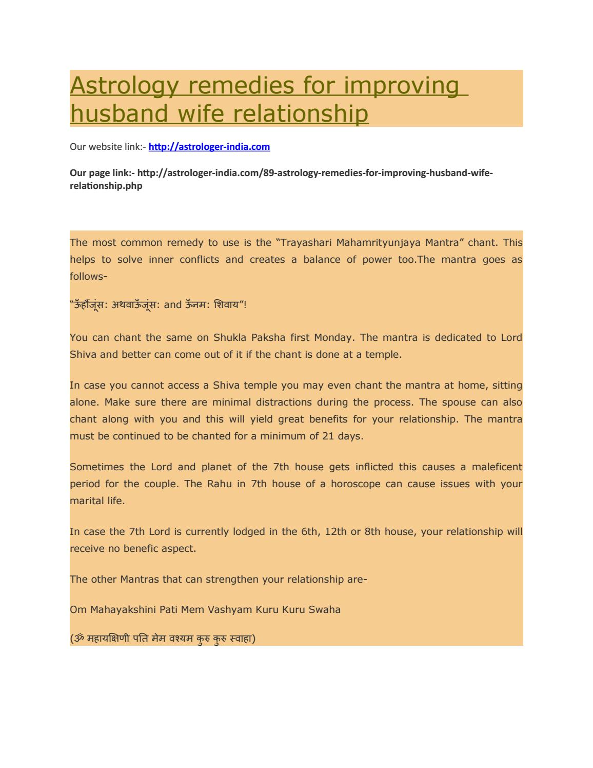 Astrology remedies for improving husband wife relationship by