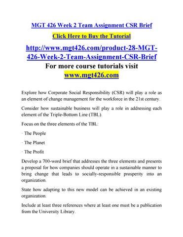 Mgt 426 Week 2 Team Assignment Csr Brief By Olymopicgamesri
