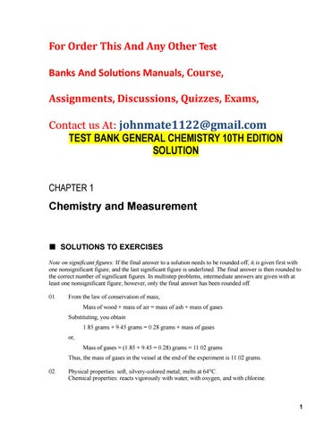 Test bank general chemistry 10th edition solution by