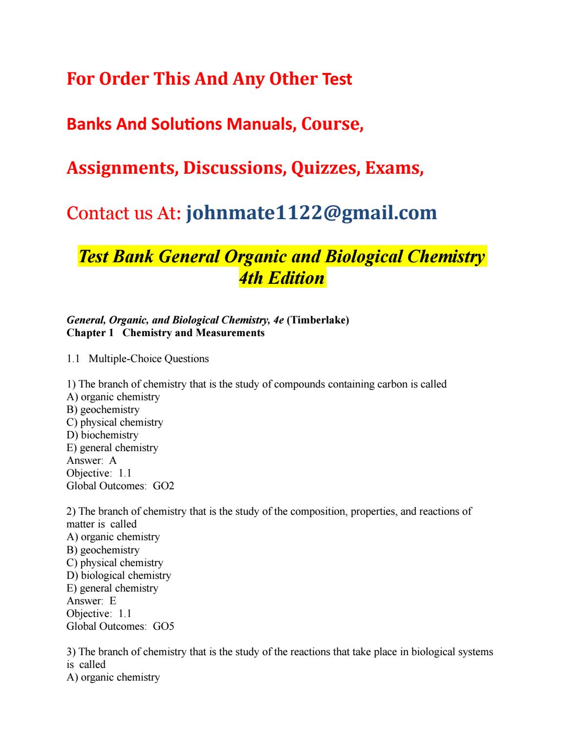 Test bank general organic and biological chemistry 4th