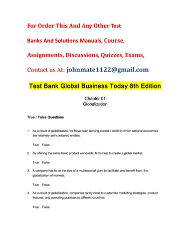 Test Bank Global Business Today 8th Edition By James1Shields