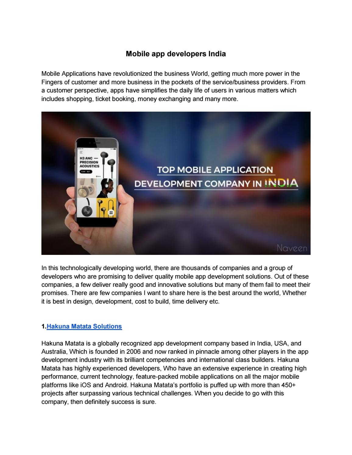 Mobile app developers india(1) by Advik naveen - issuu