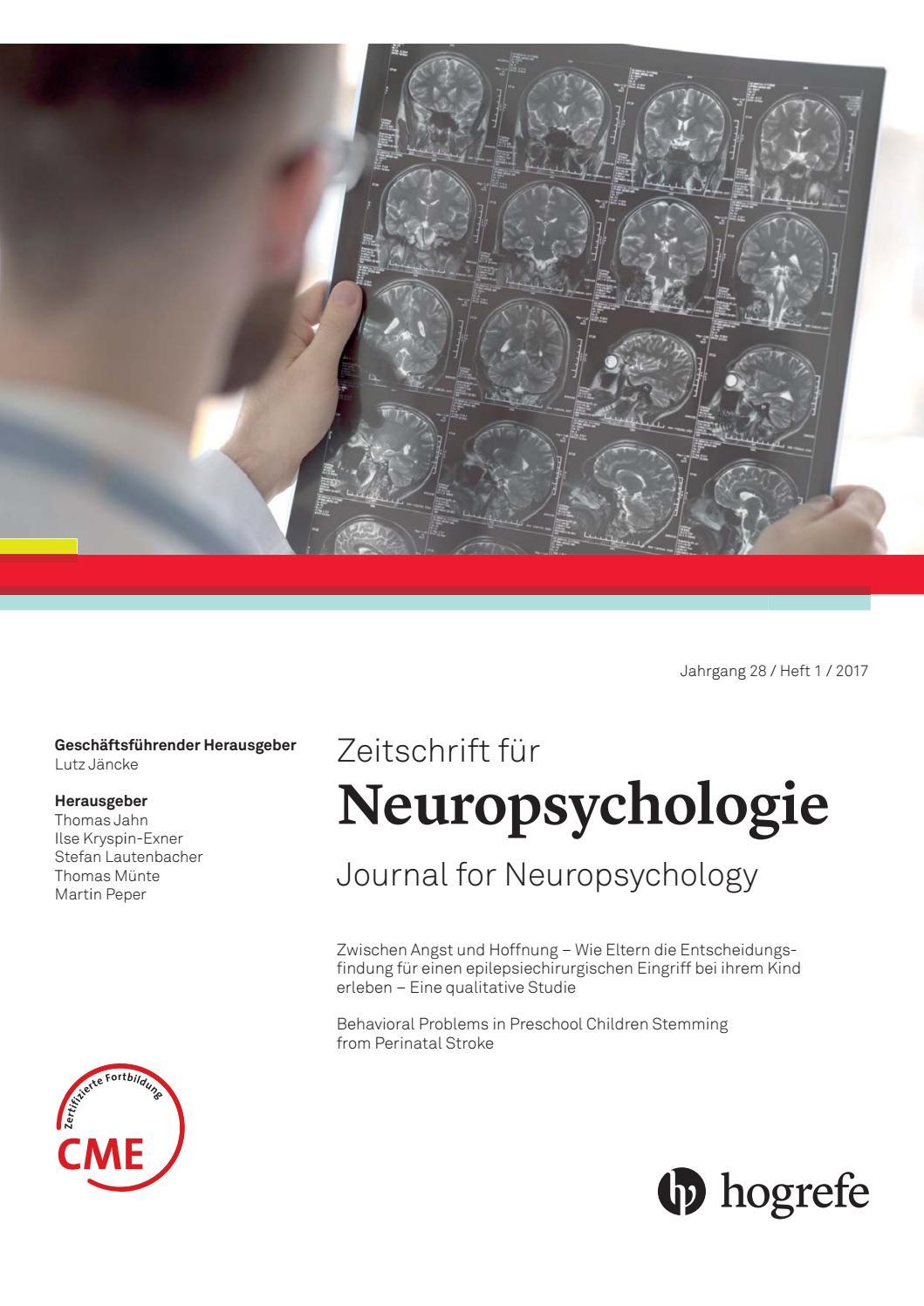 Leseprobe Z. f. Neuropsychologie 2018 by Hogrefe - issuu