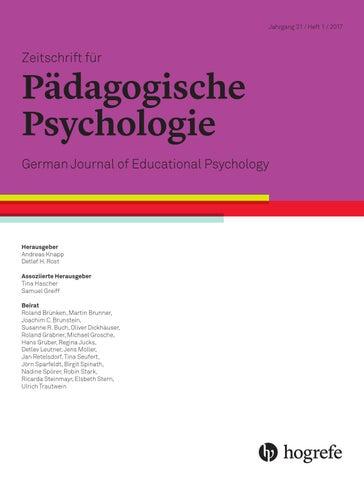 Leseprobe Z. f. Päd. Psychologie 2018 by Hogrefe - issuu