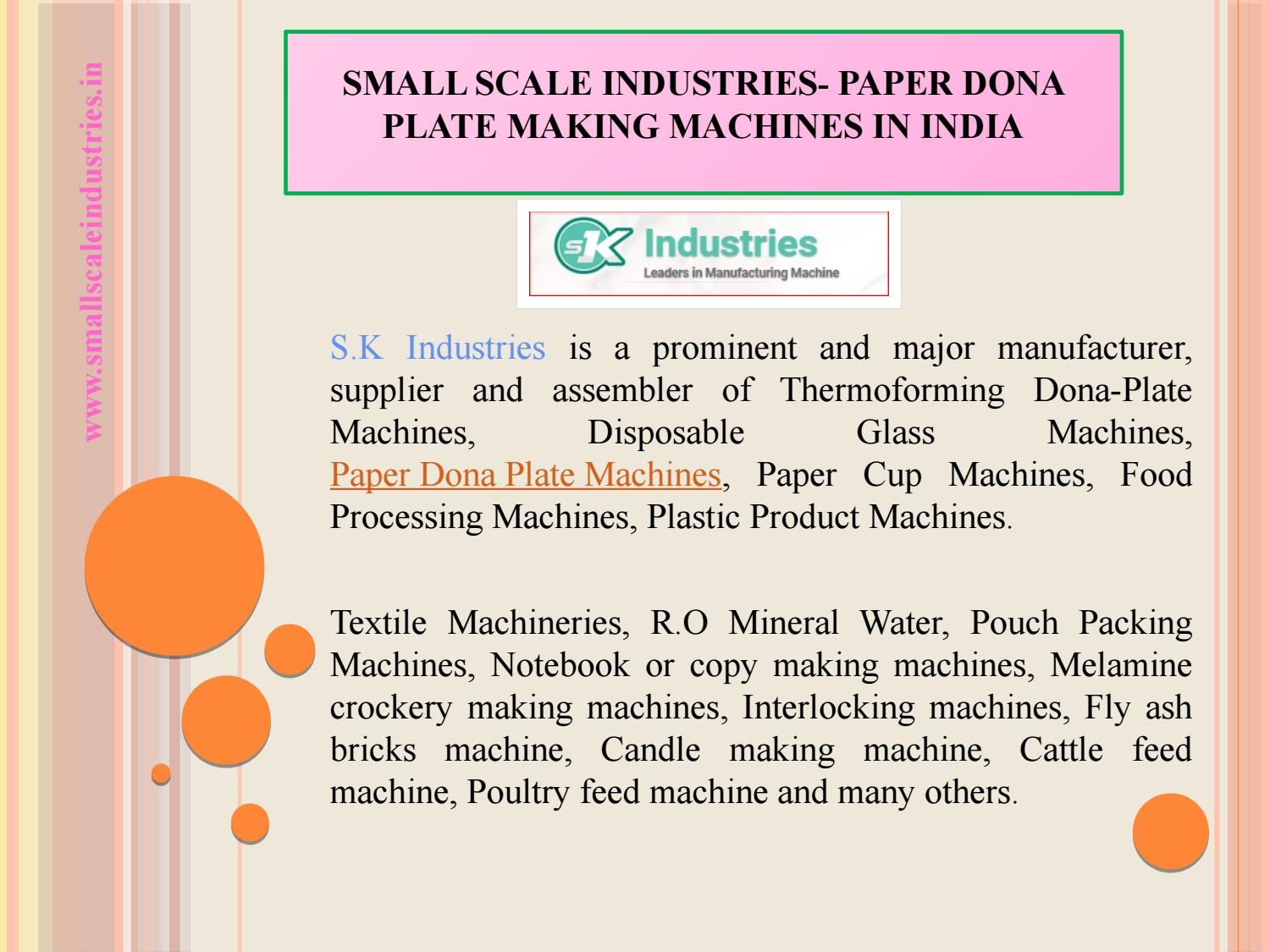 Small scale industries paper dona plate making machines in