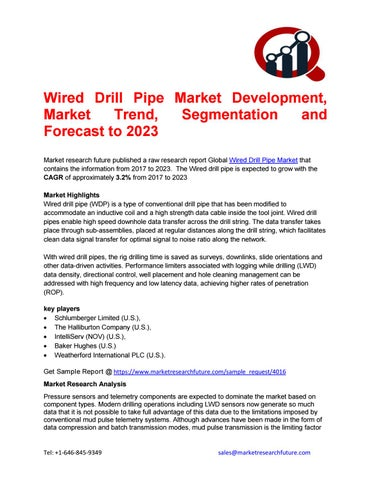Wired Drill Pipe Market Research Report- Forecast to 2023 by