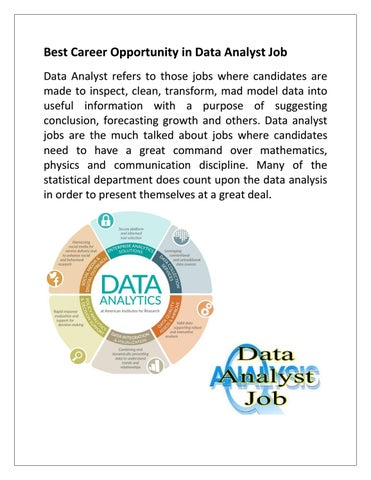 Best Career Opportunity in Data Analyst Job by Career - issuu
