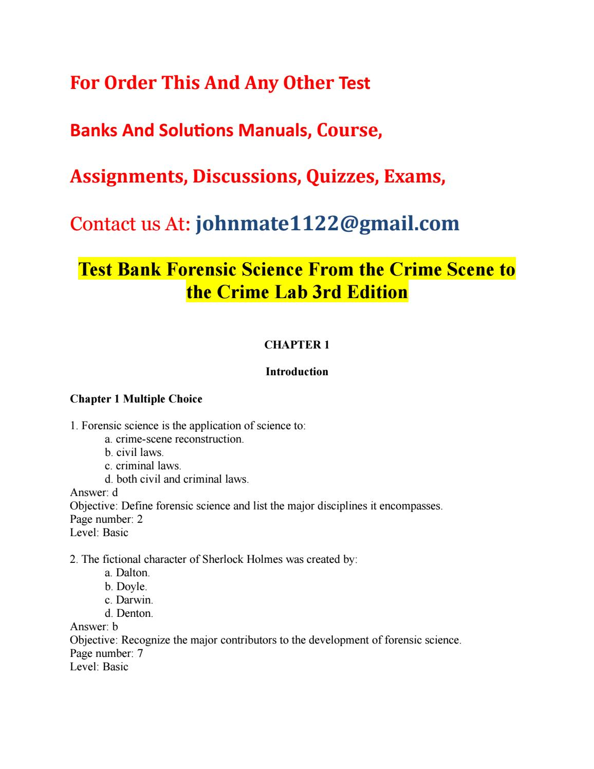 Test Bank Forensic Science From The Crime Scene To The Crime Lab 3rd Edition By Kami1lara Issuu